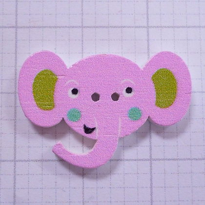 Wooden Elephant Face Button :: Pink