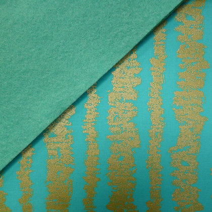 Fabric Felt :: Metallic Aqua Glitz Bars on Sea Green