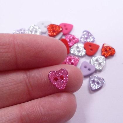 Tiny Glitter Heart Button Pack