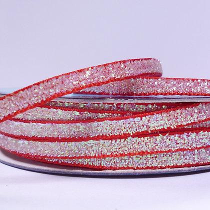 5mm Glitter Velvet Ribbon :: Red