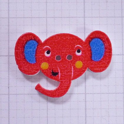 Wooden Elephant Face Button :: Red
