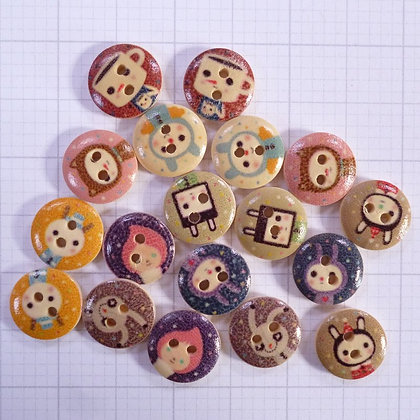 Wooden Button Pack :: Cute Faces