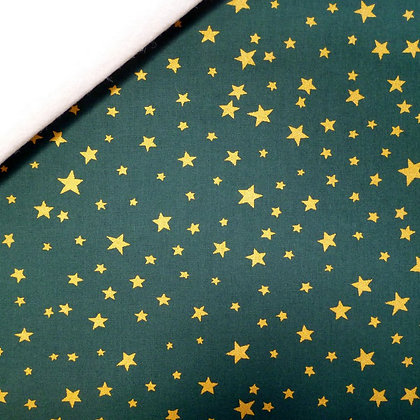 Fabric Felt :: Dark Green with Gold Stars on Natural