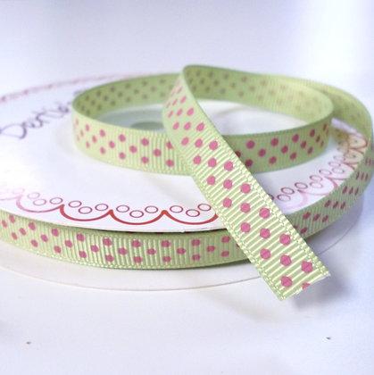 Polka Dot Grosgrain :: Mint + Pink Dots