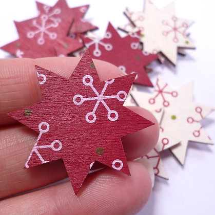 Wooden Stars :: Red & White