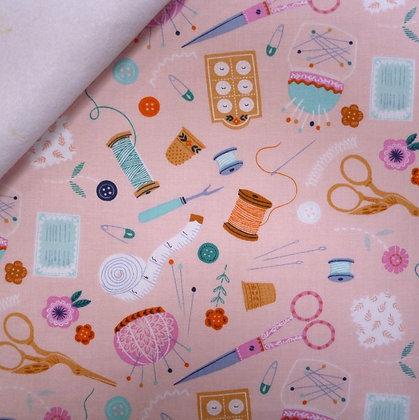 Fabric Felt :: Stitches :: Blush Haberdashery on White