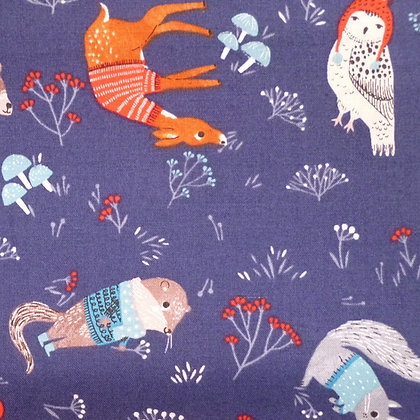 Fabric :: Dreaming of Snow :: Navy Cosy Animals