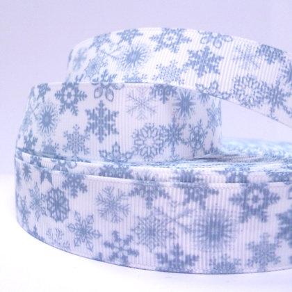 Christmas Grosgrain Ribbon :: Grey Snowflakes