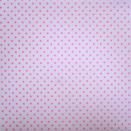 Bigger Polka Dots Felt Square :: WHITE WITH PINK