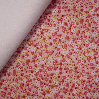 Fabric Felt :: Fox Farm Flowers :: Pink & Gold Flowers on White