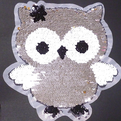 Extra LARGE Embroidered Motif :: Reverse Sequin Owl