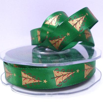 Satin Christmas Ribbon :: Green & Trees