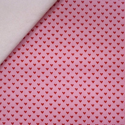 Fabric Felt :: Hello Sweetheart :: Pink / Red Mini Heart on Natural