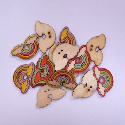 Pack of Wooden Buttons :: Rainbows