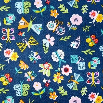 SALE Fabric :: Club Tropicana :: Navy Flowers