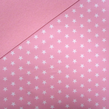 Fabric Felt :: Pale Pink + White Stars on Baby Pink