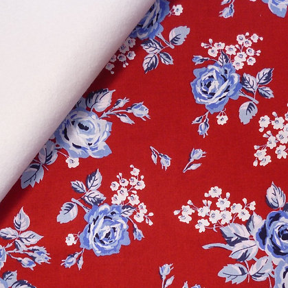 Fabric Felt :: Fox Farm Flowers :: Roses (on Red) on White