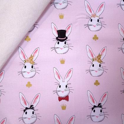 Fabric Felt :: Wonderland 2 :: Bunny Rabbits on Natural