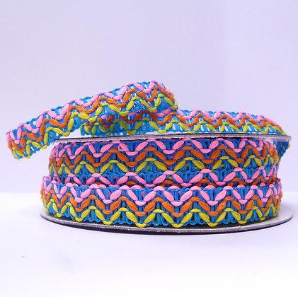 Neon Pink & Blue TRIM Stitched Zig Zag