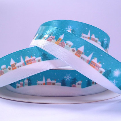 Bertie Bows Ribbon :: Satin Snowy Street Night Time