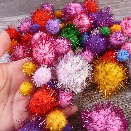 Sparkly Rainbow Pom Poms Pack