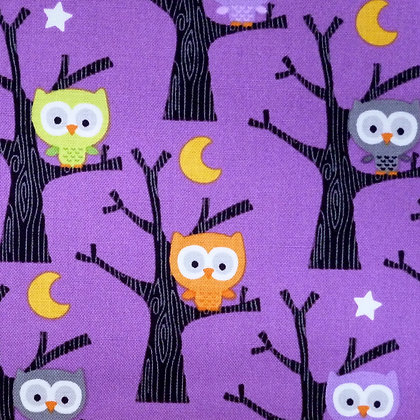 Fabric :: Ghouls :: Owls on Purple