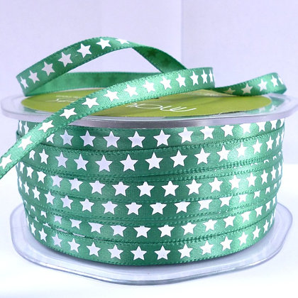 "1/4"" star ribbon :: green"