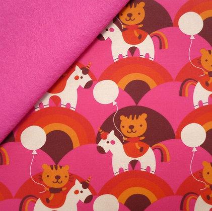 Artisan Fabric Felt :: Tigers & Unicorns on Candy Pink