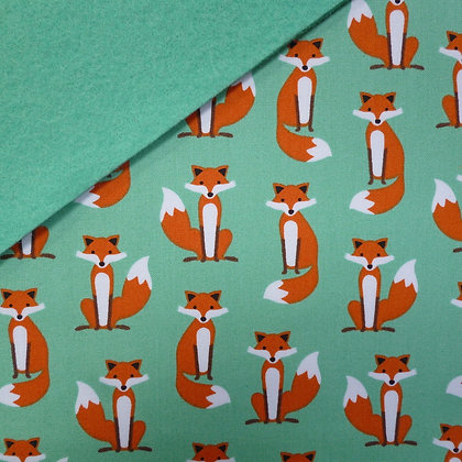 Fabric Felt :: Green Fabulous Fox on Sea Green