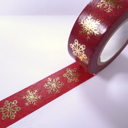 Washi Tape roll :: Gold Snowflake on Red