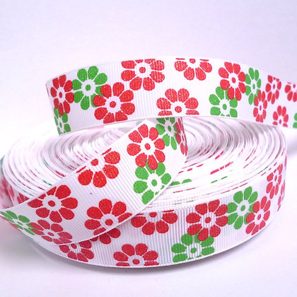 Glittered Grosgrain Ribbon :: Christmas Flowers