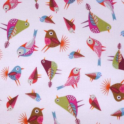 Fabric :: Stitching Birds :: White