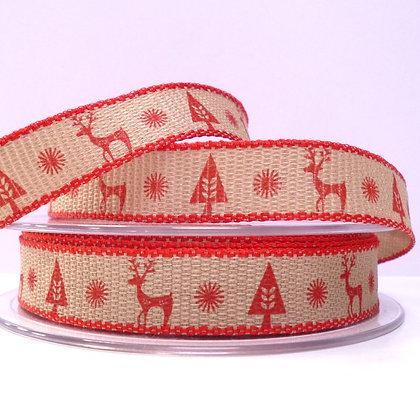 Scandi Reindeer Ribbon :: Red