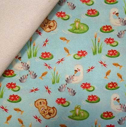Fabric Felt :: Hugs & Love :: Swans & Otters on Natural