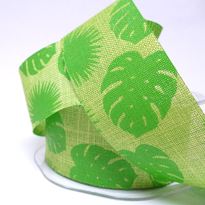 Tropical Leaves Hessian Ribbon :: Lime