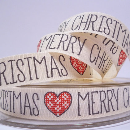 NEW Cotton Christmas Ribbon :: Merry Christmas Red Heart