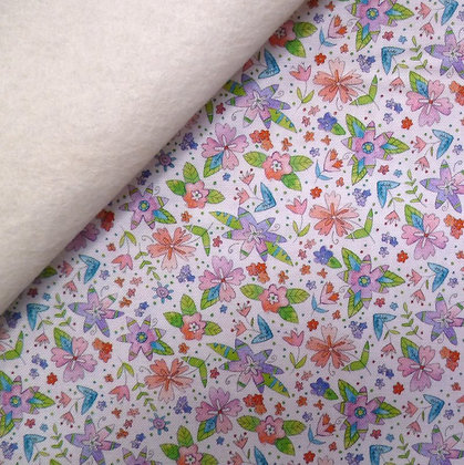 Fabric Felt :: Waltz of Whimsy :: Ramble Flowers on Natural