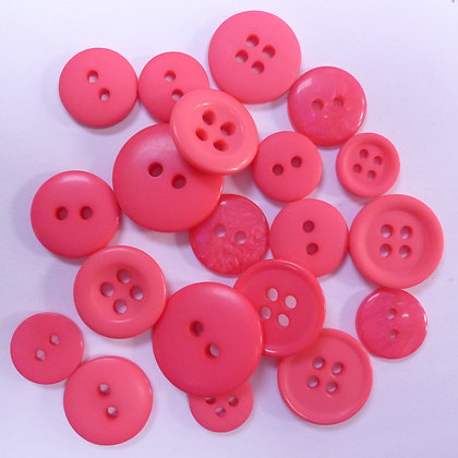 Dyed Pick & Mix Buttons :: Bright Pink