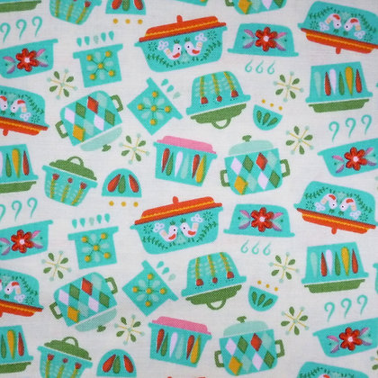 Fabric :: Vintage Kitchen :: Teal Dishes