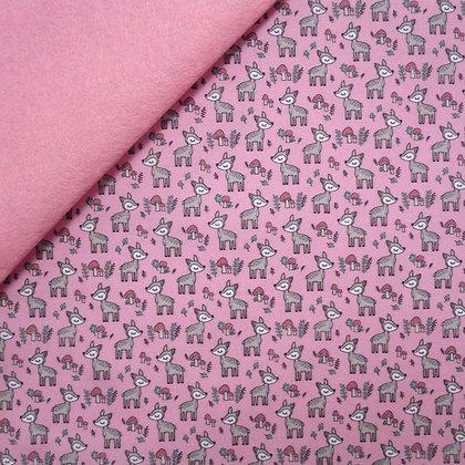 Artisan Fabric Felt :: Cute Deer on Baby Pink