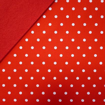 Fabric Felt :: Red Tea Dot on Red LAST FEW