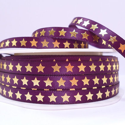 "1/4"" star ribbon :: purple & gold"