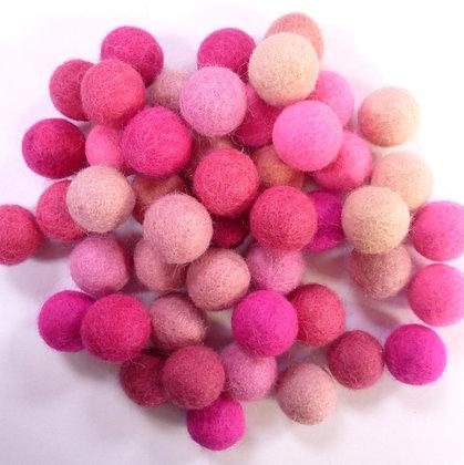 2cm Felt Ball Packs :: Pinks (48x 2cm balls)