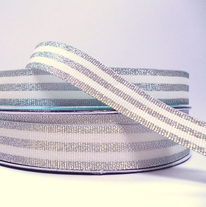 Metallic Grosgrain Stripe Ribbon :: Silver & Cream
