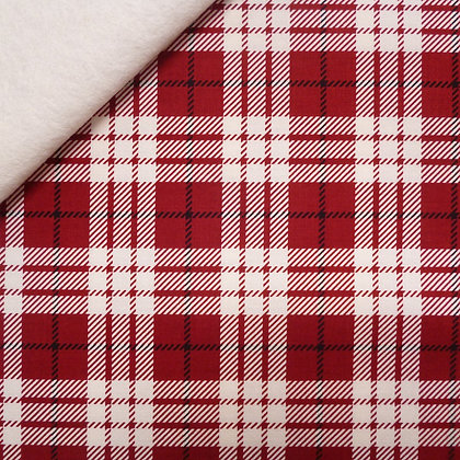 Fabric Felt :: Winterberry  :: Red Tartan on Natural