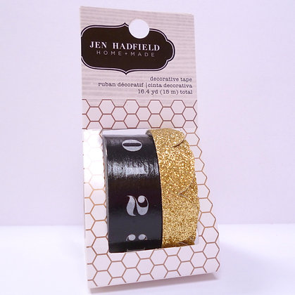 Foiled Washi Tape :: Gold Scallop & Black Numbers
