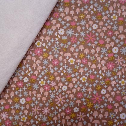 Fabric Felt :: Goldilocks :: Brown Toadstools on Natural