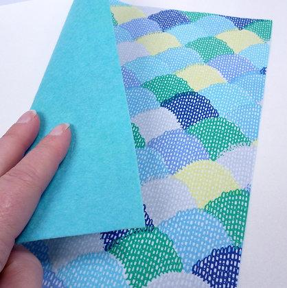 Fabric Felt :: Blue Scallop & Turquoise