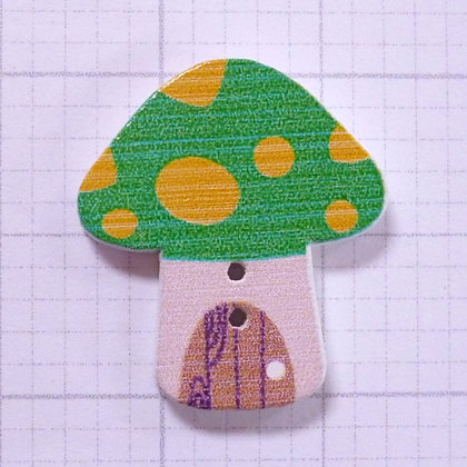 Wooden Mushroom Button :: Green & Yellow