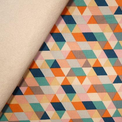 Fabric Felt :: Ava Rose Multi Triangle on Natural  LAST FEW